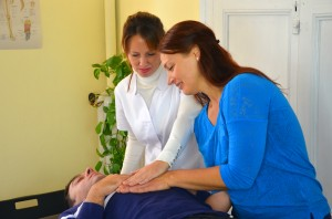 Prof. Jane Domney and naturopath, Sigrid Graber  practicing lymphatic drainage technique